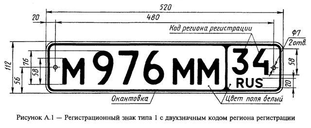 ГОСТ Р 50577-93 Знаки государственные регистрационные транспортных средств. Типы и основные размеры. Технические требования