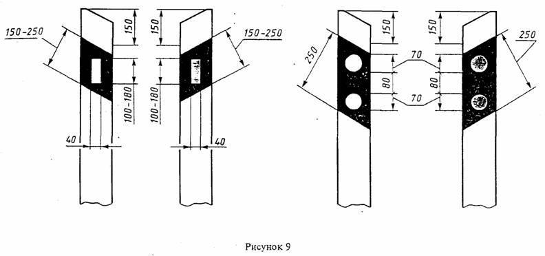 ГОСТ Р 50970-96 Технические средства организации дорожного движения. Столбики сигнальные дорожные. Общие технические требования. Правила применения Рис. 9. Расположение световозвращателей на сигнальных столбиках, имеющих скос верхней части