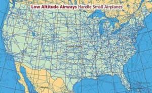 Рис. 2 Схема низковысотных воздушных трасс используемых легкими самолетами в США