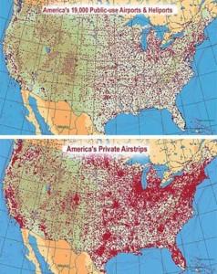 Рис. 3 и 4. Аэропорты и вертопорты, используемые общей авиацией, соответственно, публичного (общественного) назначения и частные в США