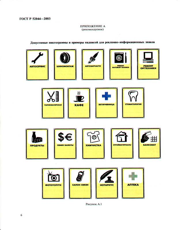 Допустимые пиктограммы и надписи на рекламно-информационных знаках ГОСТ Р 52044-2005