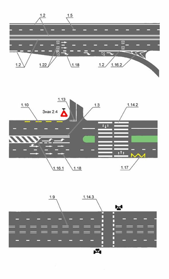 Рисунки дорожных знаков по ГОСТу 10807-78, ГОСТу Р 51582-2000 и ГОСТу 23457-86 в редакции от 25 сентября 2003 г. Дорожная разметка